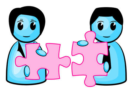 perfect fit:  illustration of two people with matching puzzle pieces  Illustration