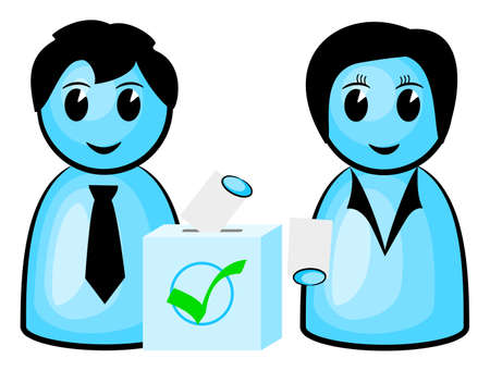 voters: illustration of two voters at a ballot box