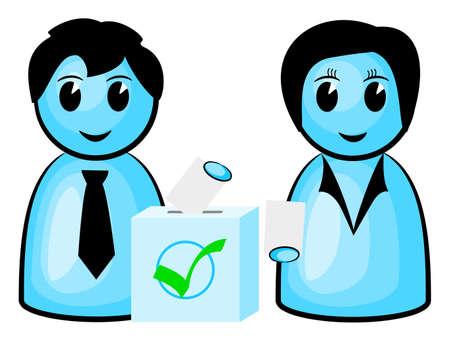 encuestando: ilustración de dos votantes en las urnas
