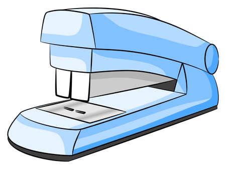 stapler: illustration of a blue stapler on white background  Illustration