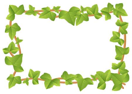 illustratie van een frame uit klimopwijnstokken met bladeren Stock Illustratie
