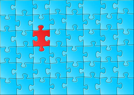 outsiders: illustration of a blue jigsaw puzzle