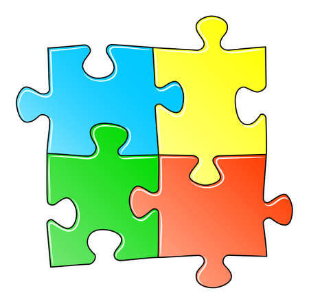 jigsaw pieces: illustration of a blue jigsaw puzzle