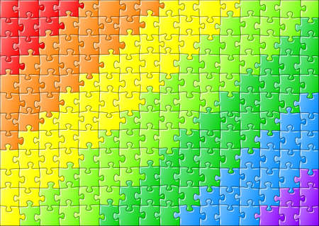 vector jillustration of a jigsaw puzzle in rainbow colors