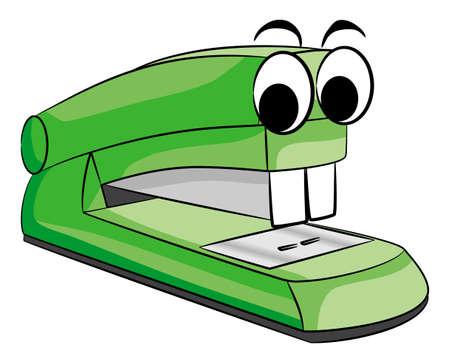 stapling: illustratio of a green stapler animal