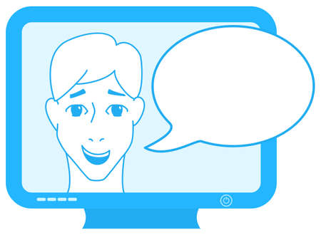 announcer: vector illustration of an announcer on TV