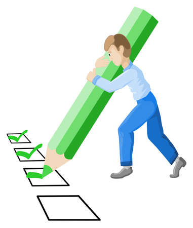 tickbox: vector illustration of a man with pencil who checks off a check list Illustration