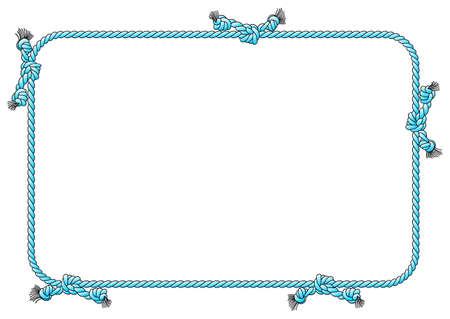 vector illustratie van een touw frame met knopen Stock Illustratie