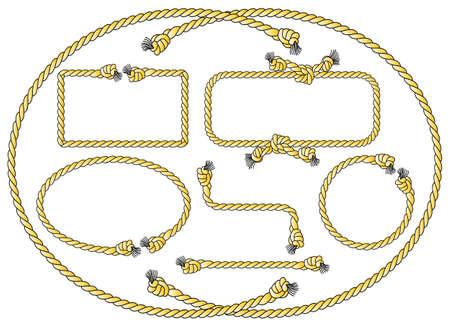 vector illustratie van een verzameling van verschillende touw frames Stock Illustratie