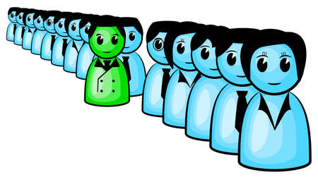 distinguish: vector illustration of a business man standing out from the crowd Illustration