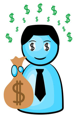 mesmerized: vector illustration of a businessman in dollar rush