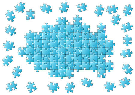 unfinished: vector illustration of an blue unfinished puzzle