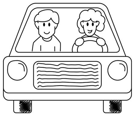 motor vehicle: vector illustration of a woman and a man driving in the car together  Illustration