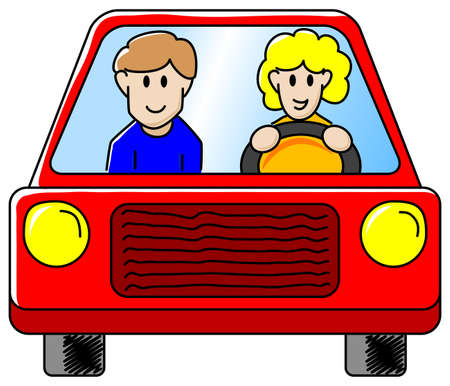 vector illustration of a woman and a man driving in the car together  Vector