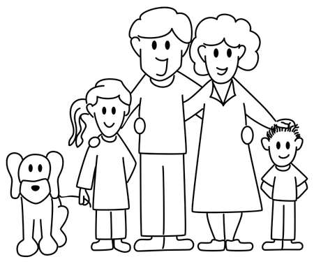 Vector father and son: vector illustration of a family consisting of father, mother, daughter, son and dog