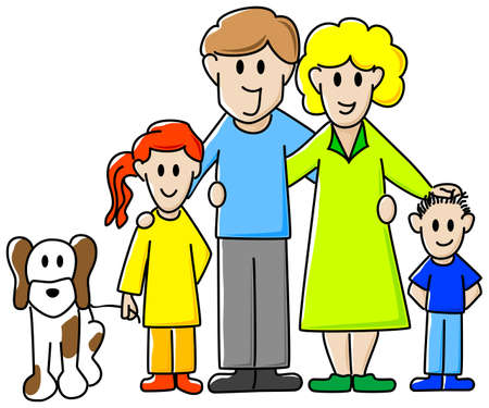 brother and sister cartoon: vector illustration of a family consisting of father, mother, daughter, son and dog
