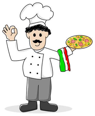 cartoon pizza: vector illustration of a cartoon pizza baker Illustration
