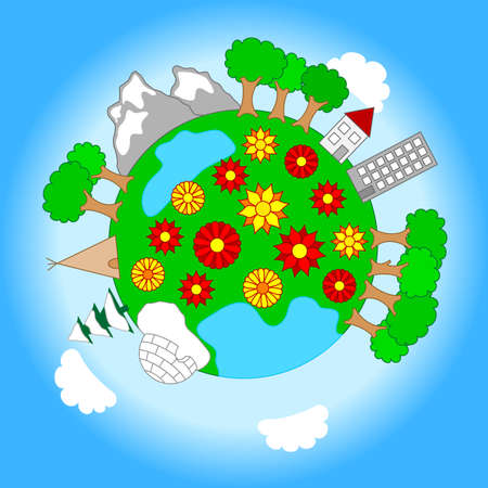 vector illustration of a little planet with various landscapes and sky Vector