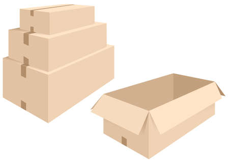 gift paper: vector illustration of different boxes of cardboard, open and closed