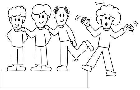 konflikt: ilustracji wektorowych kilku kolegów, którzy nękają inny