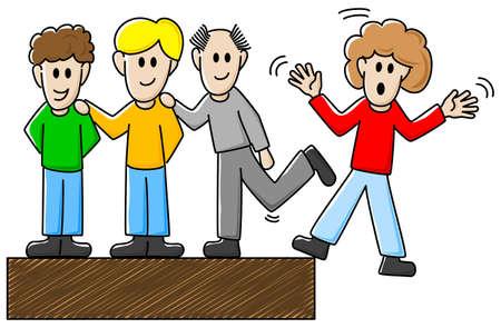 bully: ilustraci?n vectorial de algunos colegas que intimidan a otro
