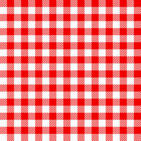 vector illustration of a red white plaid tablecloth