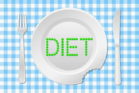 vector illustration of a table laid with a diet plate peas on a checkered tablecloth Vector
