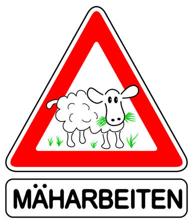baa: vector illustration of a warning sign with a lawn mower (German pun) Illustration