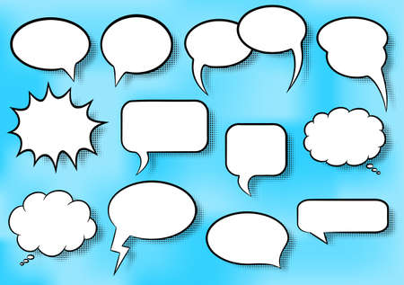 illustration of a collection of comic style speech bubbles Vector