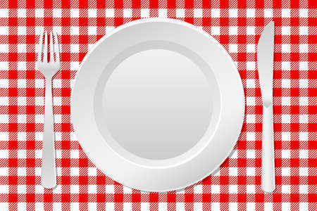 arrangement: illustration of a laid table with an empty plate and checkered tablecloth