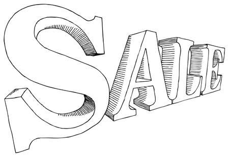 illustration of hand-drawn letters SALE Vector