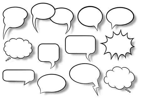 to think: illustration of a collection of comic style speech bubbles Illustration