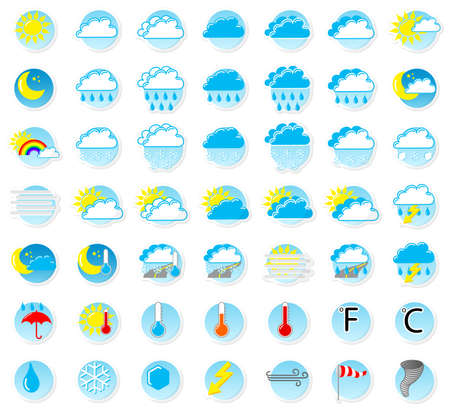 illustration of a set of weather icons Vector