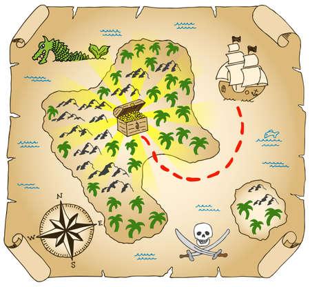 carte tr�sor: illustration d'une carte au tr�sor � main lev�e