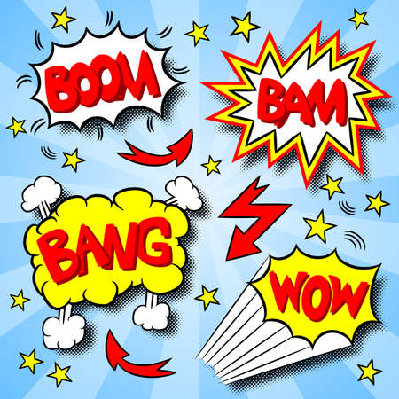illustratie van een aantal cartoon tekst explosies
