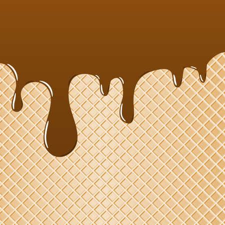 와플: 와플의 그림을 배경으로 초콜릿을 얹어 일러스트