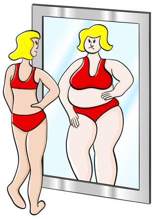 spiegelbeeld: vector illustratie van een dikke dunne vrouw kijkt in de spiegel