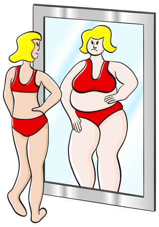 bulimia: vector illustration of a thick thin woman looks in the mirror