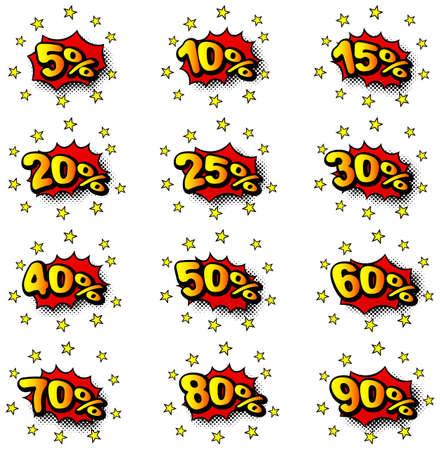 illustration of some percent comic labels