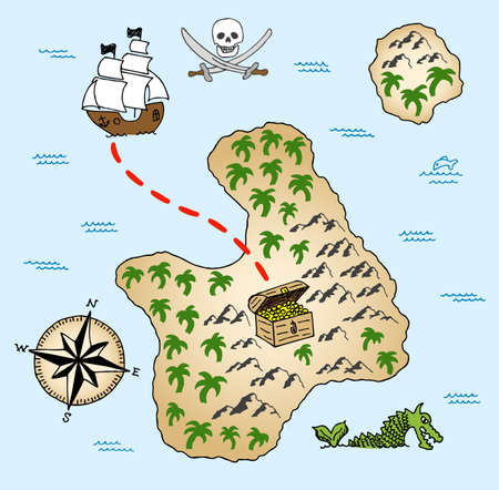 illustration of a hand-drawn treasure map Vector