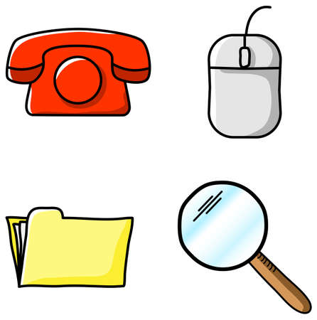 lupe: vector illustrations of various office icons