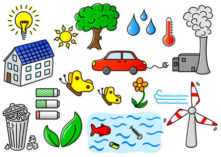 illustration of environmental pollution and green energy icons Vector
