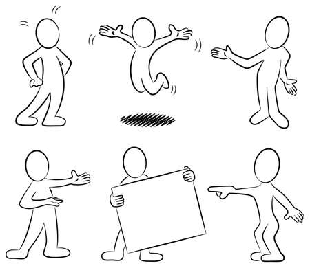 흑백에서 일부 손으로 그린 만화 사람들의 illustrtion