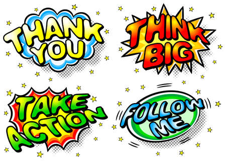 take action: illustration of four colorful effect bubbles with thank you, think big, take action and follow me