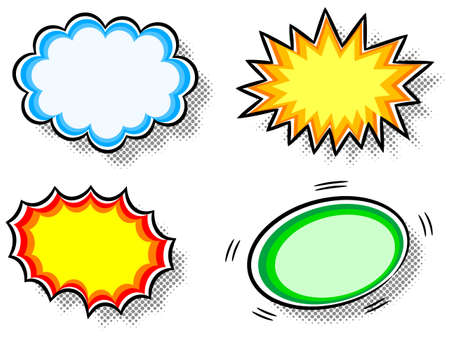 comic background: illustration of four colorful effect bubbles