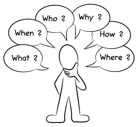 questioning: illustration of a man who asks questions