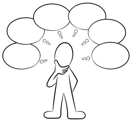 persona pensando: ilustración de un hombre que piensa en muchas cosas