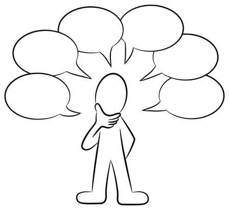 conversaciones: ilustración de un hombre que habla mucho Vectores