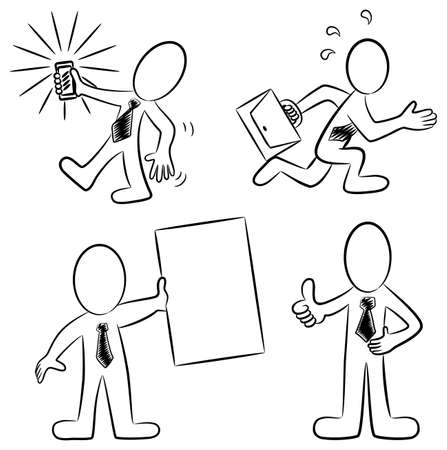 illustation of some hand drawn cartoon business people in black and white