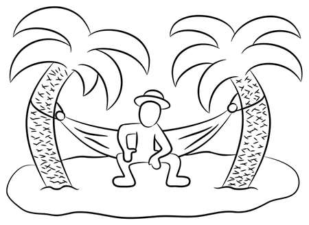 illustration of a man in a hammock on a small lonely island Vector
